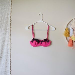 adore me // hot pink + black lace accent bra